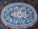 激安!ハンガリー ヴィンテージ カロチャ刺繍 マチョー刺繍 テーブルセンター ドイリー レアな水色