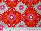 Wrapping Paper - 在庫わずか!スイス製 ヴィンテージ&レトロ ワックスペーパー,包装紙 赤オレンジピンクの花柄