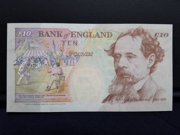 ☆イギリス10ポンド紙幣/1993年/チャールズ・ディケンズ/未使用_画像2