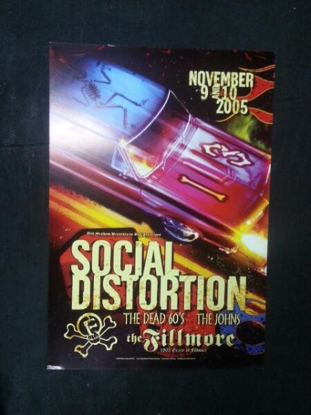 Social Distortionフライヤーポスター/パンクホットロッドスカルFORDマイクネスorange country