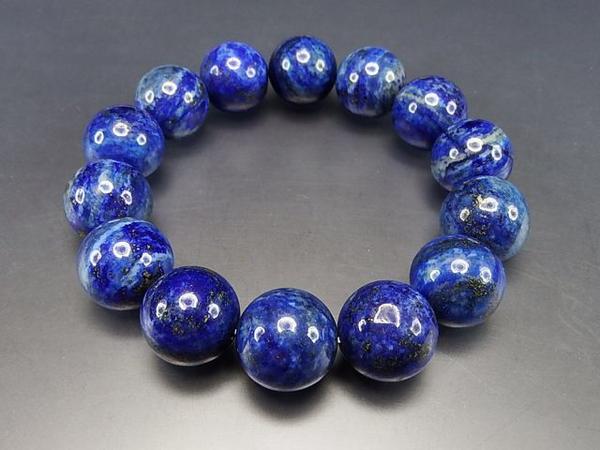 『天空の破片』天然石超大3Aラピスラズリ約16ミリ数珠ブレス