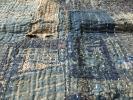 古布 ボロ 藍染 木綿 縞木綿 刺し子 敷物 残布?雰囲気抜群