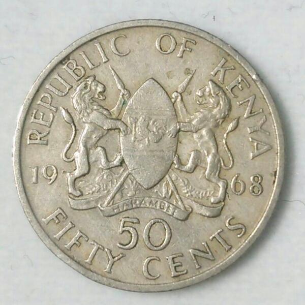 【ケニア】50セント硬貨 1968年 約21mm_画像1