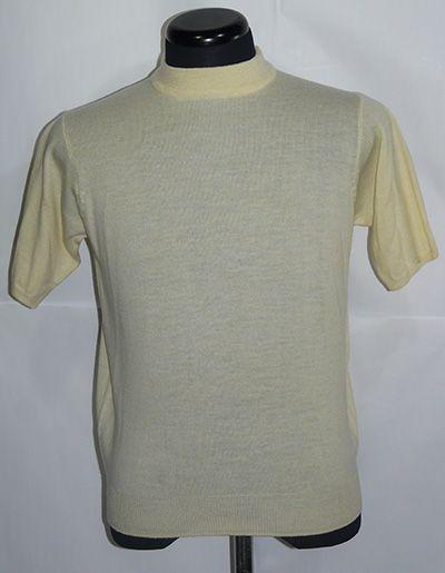 イタリア製Zegna Baruffa Cash wool 半袖ハイネック S Yellow_メランジイエロー(ミックス調)