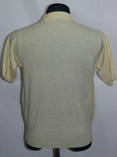イタリア製Zegna Baruffa Cash wool 半袖ハイネック S Yellow_コンパクトにフィット メンズS相当