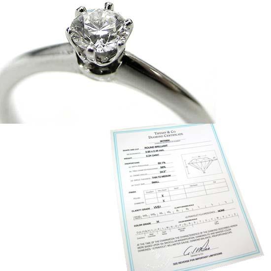本物 Tiffany&Co./ティファニー ダイヤモンドリング0.24ct ♯8_画像2