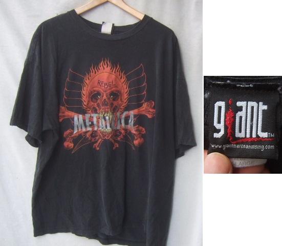 giantメタリカPUSHEADビンテージロックTシャツ/ファイヤー古着黒