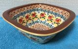 ポーランド食器 ポーリッシュポタリー スクエアボウル 茶 陶器