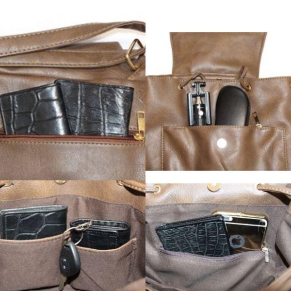 ★1円~★ 新品 高品質 レザー リュックサック 鞄 レザー 茶 ブラウン レディース 女性_画像3
