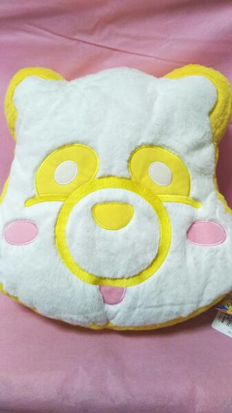 ★AAA★え~パンダ・ふさふさ・フェイスクッション/黄色