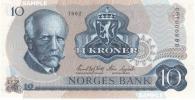 ノルウェー王国 10クローネ紙幣1982年 未使用品