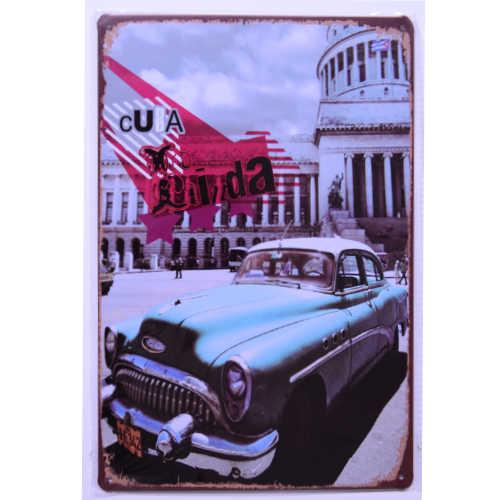 ブリキ看板20×30cm CUBA キューバ CLASSIC CAR 車 レトロアメリカンガレージ看板 インテリア・アンティーク雑貨 ★TINサイン★_ブリキ看板