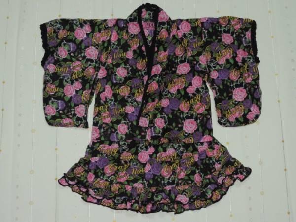 ♪BEGUMのバラプリント裾フリル甚平&リボン帯セット☆80センチ☆_画像1