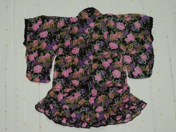 ♪BEGUMのバラプリント裾フリル甚平&リボン帯セット☆80センチ☆_画像3