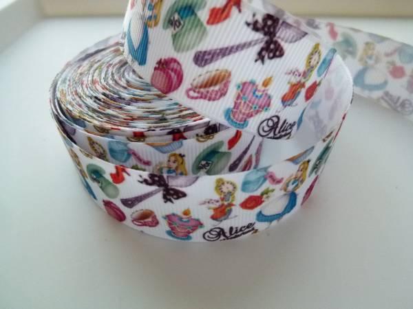 グログランリボン★可愛い アリス★2m★25ミリ★鏡 帽子 靴など女の子喜ぶプリント柄★_画像3