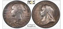 【11枚限定】1897 イギリス ヴィクトリア女王 在位60周年記念銀メダル SP61 銀貨 希少