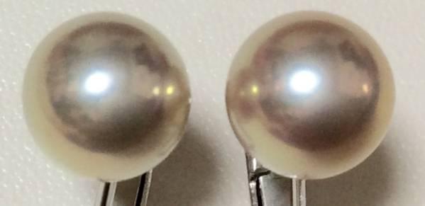 希少 ラウンド 無瑕 メタリックの輝き! ナチュラルカラー 淡水真珠8.5mm 綺麗! イヤリング 天然色_画像2