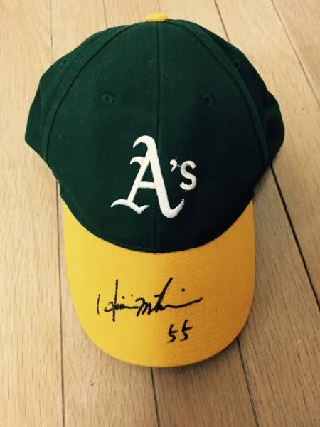 松井秀喜 直筆サイン入り帽子 MLB Oakland Athletics