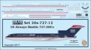 【予約品】1/200 Drawデカール USエアウェイズシャトル B727-200