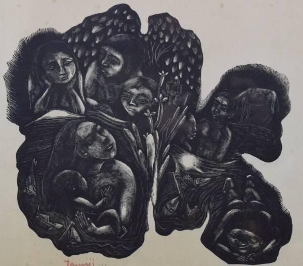 北川民次 レゾネ34 [メキシコの浴み] 1941 木版画 ed100 真作_画像1
