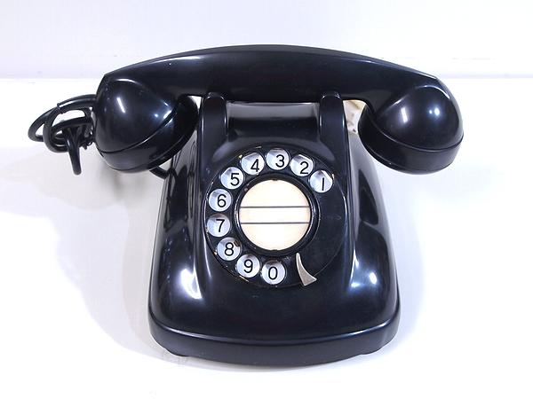 昭和レトロ アンティーク■1968年 電電公社 黒電話 4号A自動式 珍品 マークなし 動作品■希少