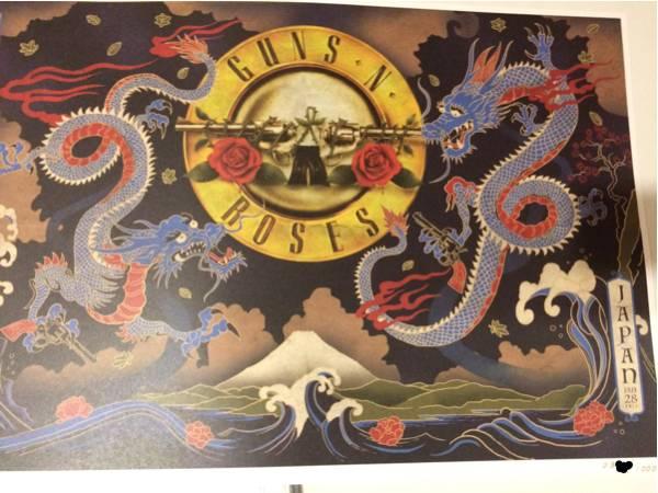 GUNS N' ROSES リトグラフ 28日 埼玉限定 lithograph ガンズアンドローゼズ ライブグッズの画像