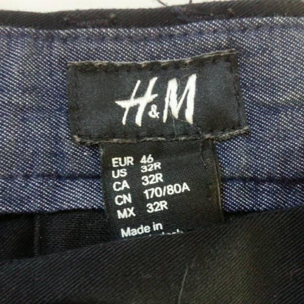 H&M メンズ パンツ ブラック 黒 ボトムス シンプル 無地 コットン US32R_画像3