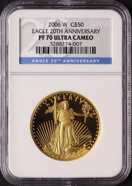アメリカ 2006W イーグル 50ドル 金貨 NGC PF70UC 1oz 最落なし_画像3