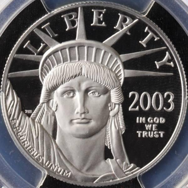 アメリカ 2003W プラチナ イーグル 100ドル PCGS PR69DCAM 1oz_画像2