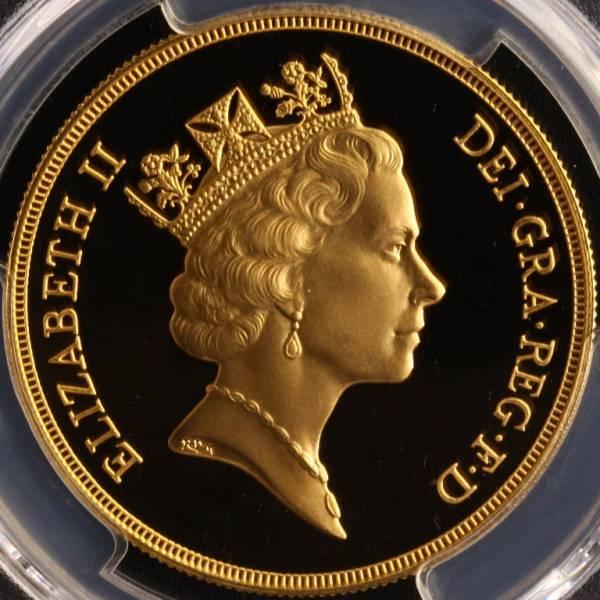 特年号 イギリス 1992 ミドルエリザベス 5ポンド 金貨 PR70DCAM