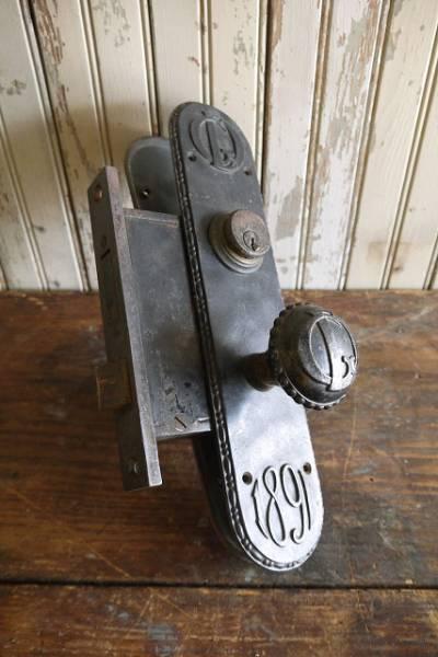 アンティークメタルロック付きドアノブキット05窓枠扉鍵装飾USA