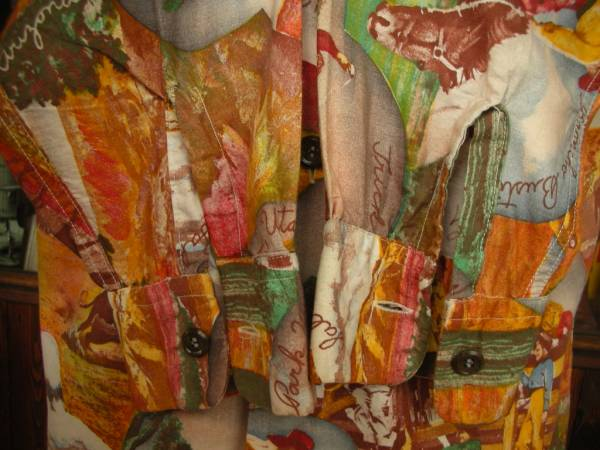 40S 50S ビンテージ JIM PENNEY ウエスタン ピクチャープリント長袖コットンシャツ/YOUTH18_画像3