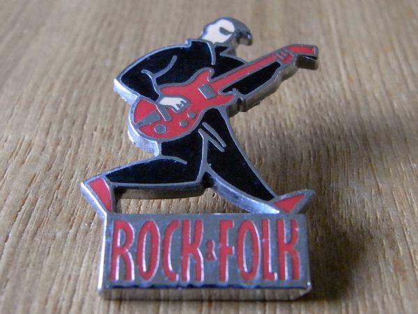古いピンバッジ:ROCK FOLK ギター 音楽 ピンズ S