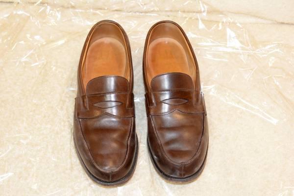 イギリス製 ダンヒル メンズ レザーソール ビジネスシューズ コインローファー ブラウン 正規品 本物 最高級 紳士 靴 _画像1