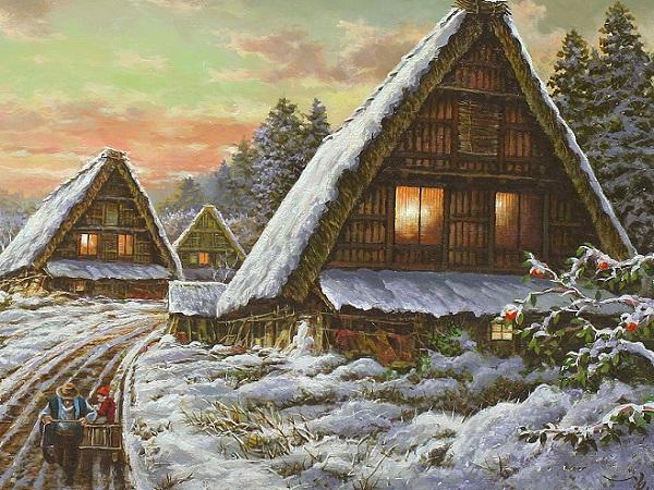 大友一美 残雪 寒椿 合掌造り 古民家 田舎風景 超詩情風景 油絵