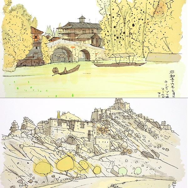 平山郁夫 3枚組版画集 玄奘三蔵への道 シルクロード 絵画_画像2