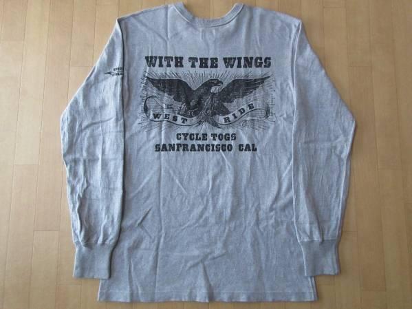 日本製 WEST RIDE 両面プリント 長袖 Tシャツ 40 L ヘザーグレー WESTRIDE ウエストライド ロンT カットソー バイク ライダース ツーリング_WEST RIDE 長袖Tシャツ裏面