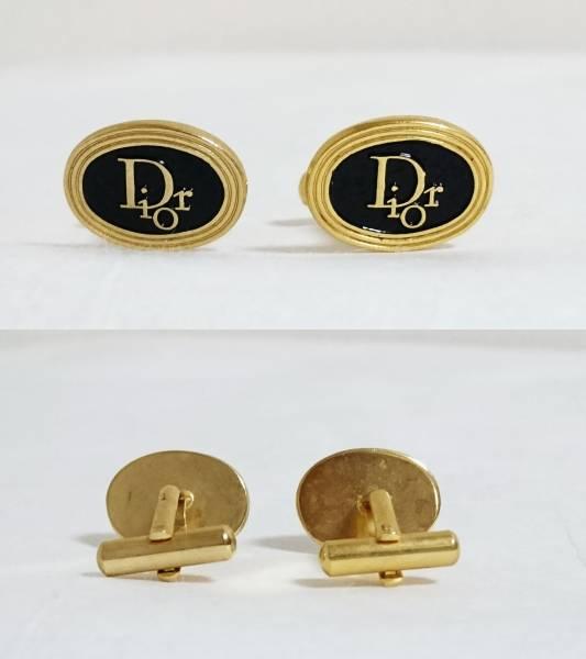 正規良 ディオール ヴィンテージ Diorロゴオーバルカフス ゴールド×ブラック コンビカラー カフリンクス ラウンドボタン アンティーク_早期終了もあり得ますのでお早めに!