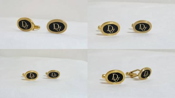 正規良 ディオール ヴィンテージ Diorロゴオーバルカフス ゴールド×ブラック コンビカラー カフリンクス ラウンドボタン アンティーク_シンプルで上品なモデル♪入手困難!