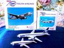*〜herpa wings*70周年記念*LOT POLISH AIRLINEx2pcsセット*ポーランド航空*Boeing737-400&767-300*1:500〜*