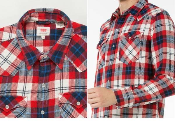 新品リーバイス バーストゥ ウエスタンシャツ Levi's メンズM(日本サイズL) 65816-0180マルチカラー赤×青×白×濃紺チェック柄 長袖シャツ_画像3