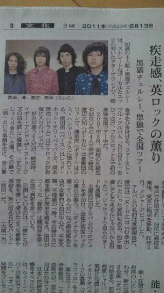 黒猫チェルシー インタビュー記事 朝日新聞 2011.6