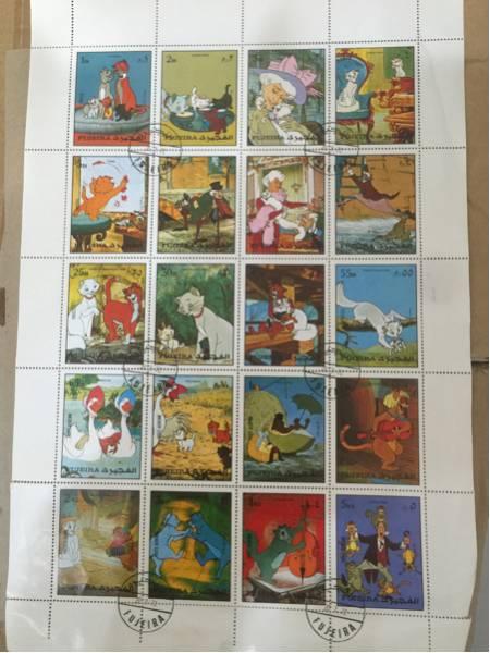 外国切手 ディズニー FUJEIRA おしゃれなマリー 猫 アラブ フジャイラ 切手シート おしゃれキャット ディズニーグッズの画像