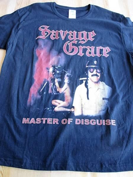 中古 SAVAGE GRACE Tシャツ master of disguise 黒M / iron maiden judas priest agent steel helloween metallica