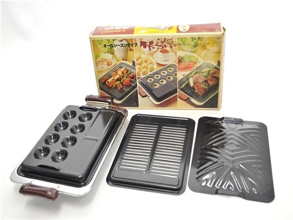 F65★未使用★加藤産業 調理器具 3wayプレート かたらい 焼肉/串焼き/たこ焼き