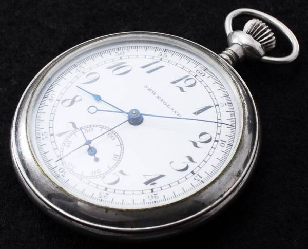 英国製 NEW ENGLAND アンティーク クロノグラフ 懐中時計