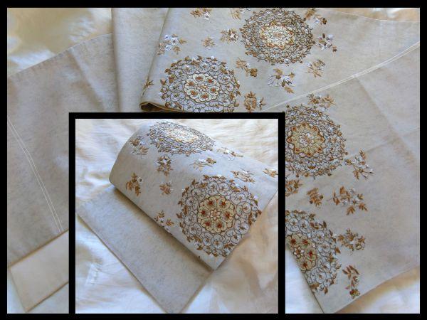 逸品□正絹□白銀暈し引き箔□刺繍更紗華文様袋帯□金ベージュ