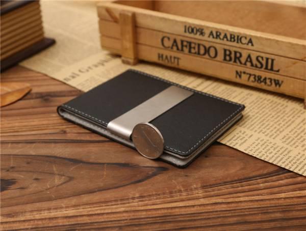 新品 マネー クリップ スリム カード ケース 青色 ブルー レザー 二つ折り 札ばさみ 薄型 ウォレット 財布 送料無料_画像3