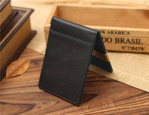 新品 マネー クリップ スリム カード ケース 青色 ブルー レザー 二つ折り 札ばさみ 薄型 ウォレット 財布 送料無料_画像2