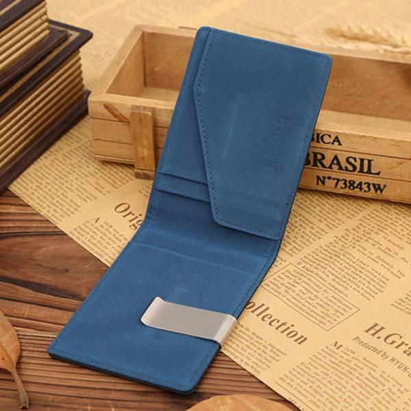 新品 マネー クリップ スリム カード ケース 青色 ブルー レザー 二つ折り 札ばさみ 薄型 ウォレット 財布 送料無料_画像1